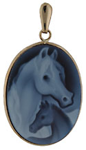 14kt framed blue and white agate horse mare and foal cameo