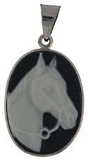 14kt white gold porcelain horse cameo necklace pendant