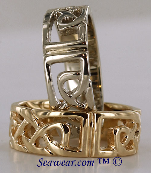 14kt white and yellow gold Celtic band rings