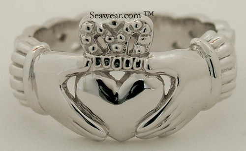 mans Claddagh ring with Celtic knots