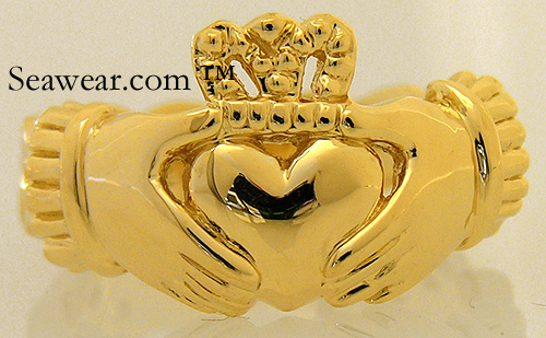 14kt yellow gold Celtic Claddagh ring