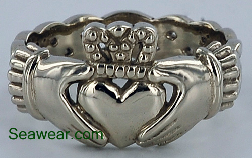 white gold celtic claddagh ring