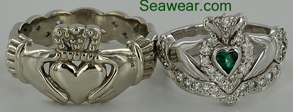 white gold celtic claddagh wedding set rings