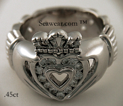 gold diamond Claddagh ring