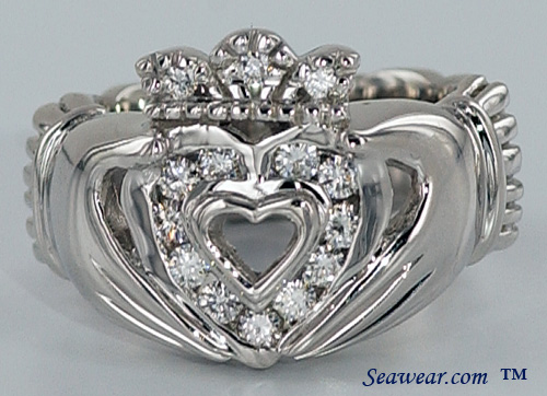 low rise feminine crown adorns the diamond Claddagh heart