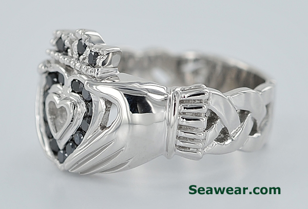 white gold Claddagh ring with open Celtic knot band and black diamonds
