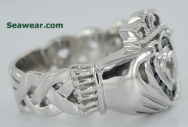 white gold Claddagh ring with black diamonds