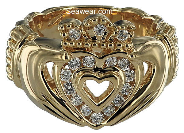 diamond Celtic Claddagh ring
