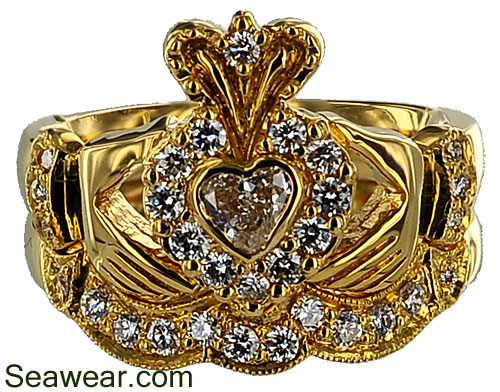 18kt claddagh diamond wedding set - Claddagh Wedding Ring Sets