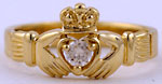 14k claddagh ring with white diamond