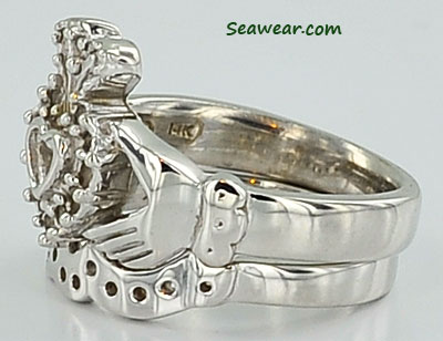 white gold Claddagh ring wedding bands
