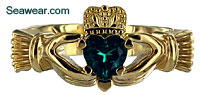 Claddagh ring with heart shaped prongs