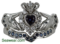 Claddagh wedding set with color changing alexandrite