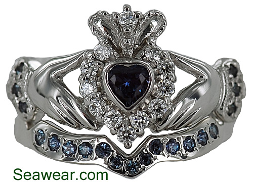 ladies alexandrite claddagh wedding ring set that was total custom - Claddagh Wedding Ring Sets
