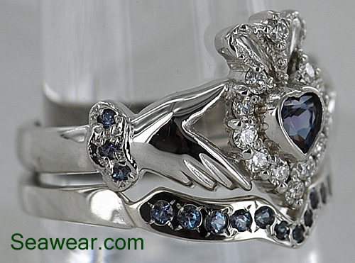 diamond alexandrite claddagh wedding ring band set - Claddagh Wedding Ring Sets