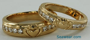 Claddagh diamond eternal wedding bands