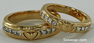 Claddagh princess diamond wedding bands