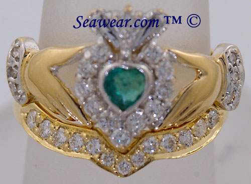 Claddagh ring and matching diamond band