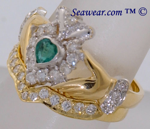 side view of diamond Claddagh ring and diamond band