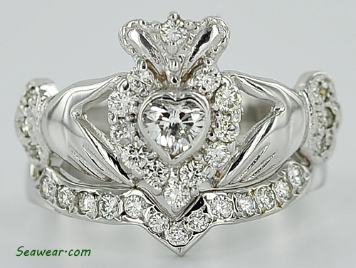Diamond Claddaagh Wedding Set Claddagh Enement Ring