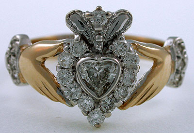 diamond Cladddagh ring