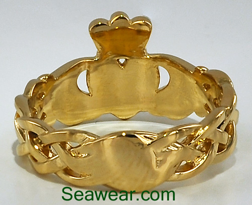 Celtic knot weave Claddagh ring