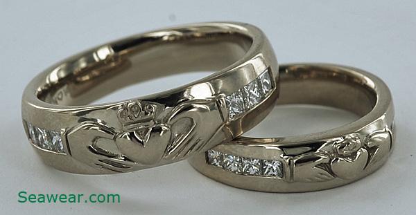 palladium white gold diamond claddagh wedding ring set - Claddagh Wedding Ring Set