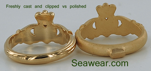 lost wax cast Claddagh rings