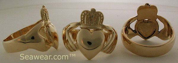 mans 14k gold Claddagh ring
