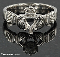 platinum Claddagh engagement ring setting
