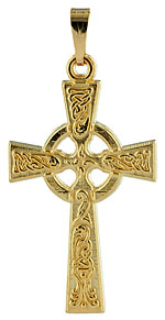 14kt Celtic Cross with raised pattern of celtic knots
