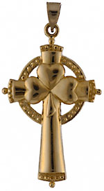 14k Saint Patrick shamrock cross