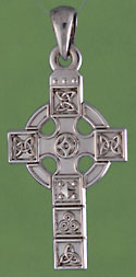 14kt white gold Celtic design panel cross