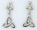 14k white gold double trinity knot dangle earrings with double notch posts by Seawear.com