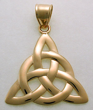 Celtic eternal life symbol in 14kt yellow gold with the circle of life