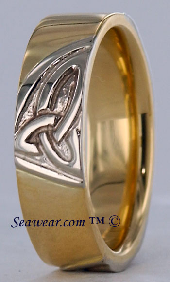 14k triple trinity knot wedding band