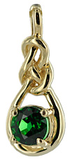 14kt Celtic love-knot pendant with 1/2 carat Tsavorite