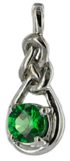 14kt white gold Celtic love knot charm with Tsavorite gemstone