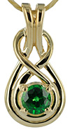 14kt Celtic love knot pendant with 1/2ct Tsavorite gem quality