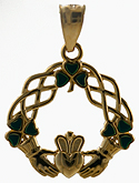 14kt Celtic knots and Claddagh with eneamel sharmocks