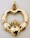 14k Claddagh necklace pendant and heart