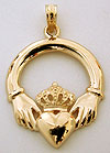 14k Claddagh necklace pendant