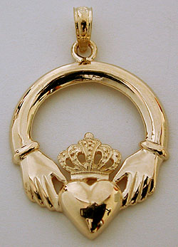 Claddagh jewelry 14k claddagh necklace pendant aloadofball Image collections