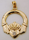 14k Claddagh necklace pendant with diamond accent
