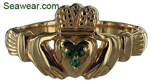 14kt Claddagh ring with emeralds