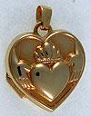 gold opening claddagh locket