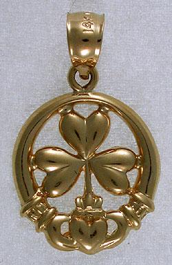 Irish shamrock clover jewelry claddagh hands and shamrock pendant aloadofball Images