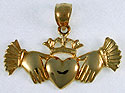 short cuffed hands holding claddagh heart and crown