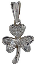 14kt white gold shamrock with nine diamonds