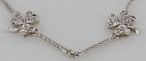 white gold shamrock diamond necklace